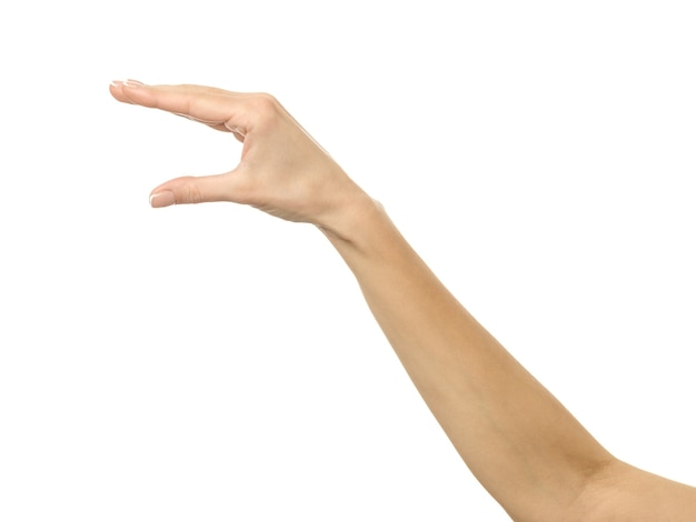 Raccogliere a mano, tenere, afferrare o raggiungere. mano della donna con il manicure francese che gesturing isolato sulla parete bianca. parte della serie