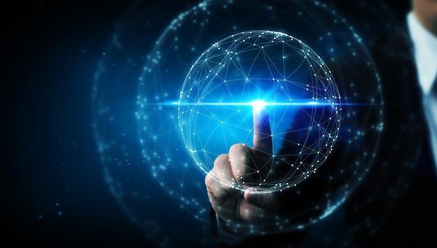 Mano che tocca la progettazione digitale del cerchio della rete astratta