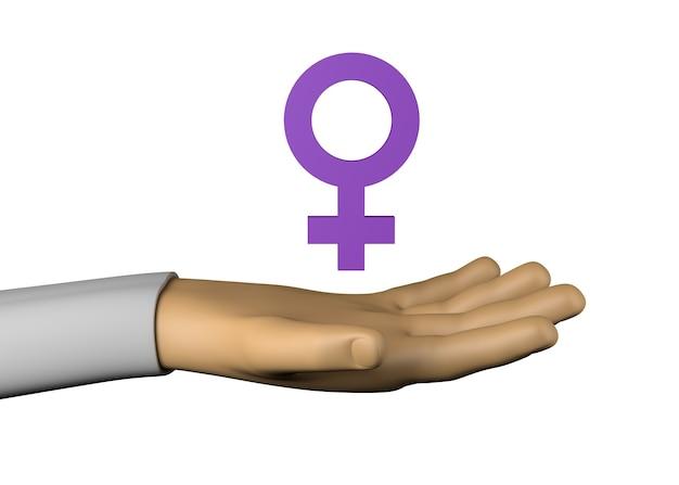 Mano con simbolo femminile. isolato. illustrazione 3d.
