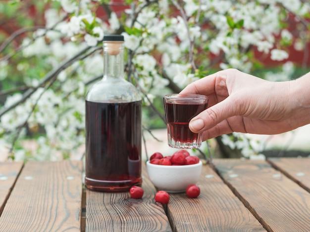 La mano di una donna con un bicchiere di liquore di un albero in fiore. alcool fatto in casa a base di bacche di ciliegia.