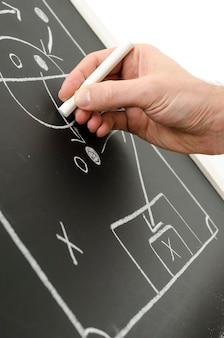 Mano che scrive una strategia di calcio su una lavagna.
