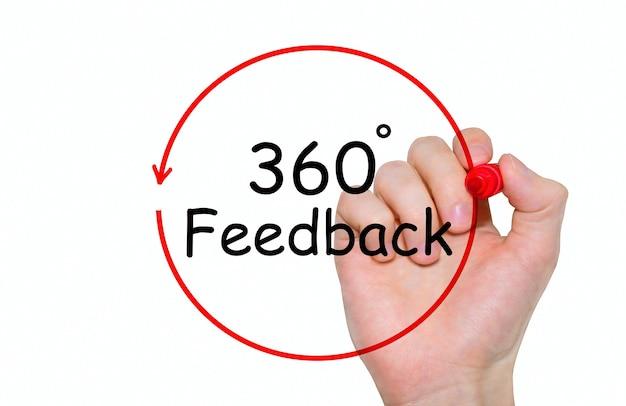 Iscrizione di scrittura a mano 360 gradi feedback con pennarello, concetto