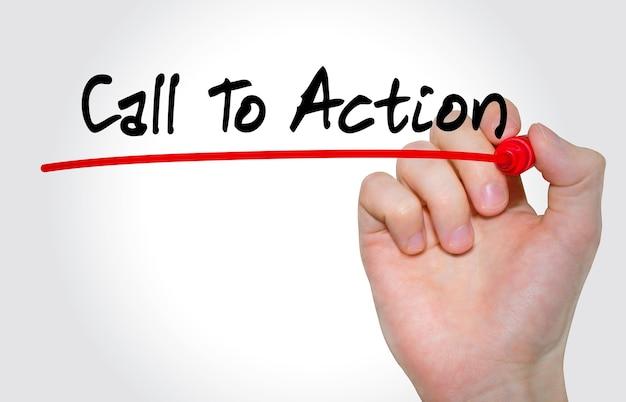 Iscrizione call to action di scrittura a mano con pennarello