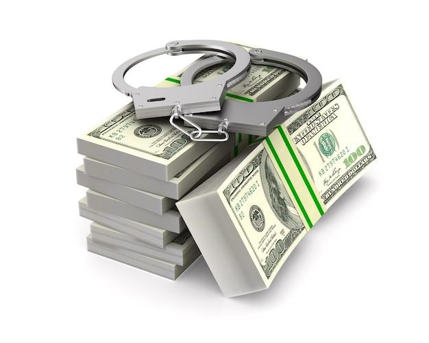 Manette e soldi su uno spazio bianco