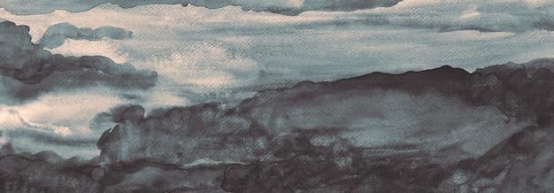 Fatto a mano nero grigio cloudscape texture pittura ad acquerello opere d'arte originali banner astratto