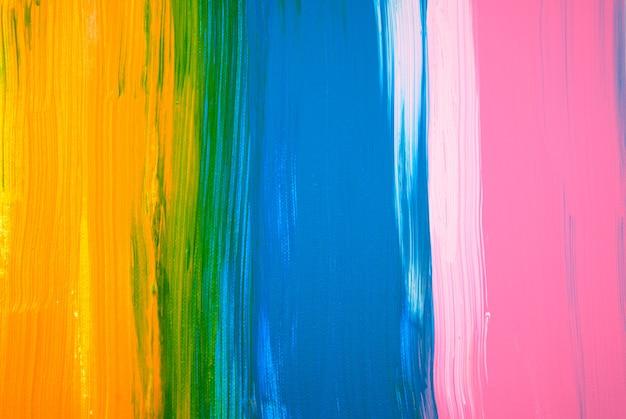 Pittura astratta disegnata a mano fatta a mano colore acrilico giallo blu rosa dipinto su tela