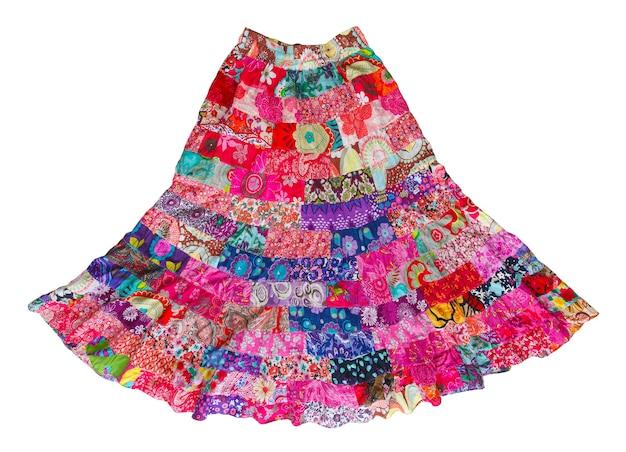 Gonna lunga da donna fatta a mano con pezzi di stoffa colorata