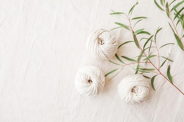 Intreccio macramè fatto a mano e fili di cotone con ramo di foglie verdi.