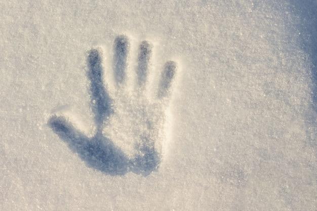 Handprint su bianco con una tonalità blu della neve con una giornata di sole invernale