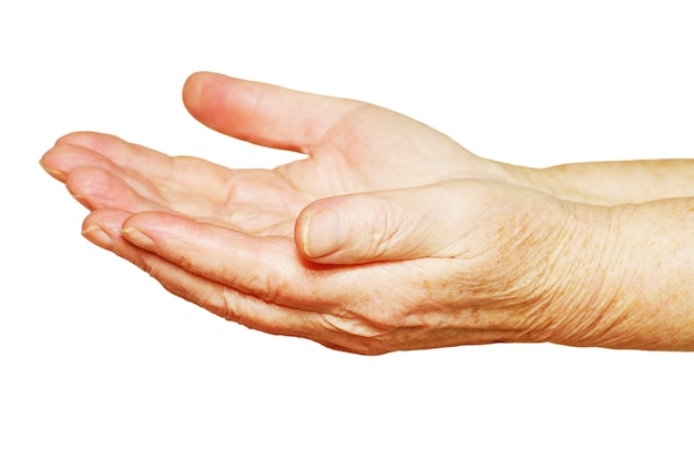 Mani che chiedono l'elemosina su uno sfondo bianco