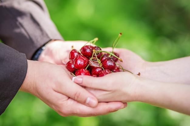 Mani della sposa e dello sposo che tengono una manciata di ciliegie con fedi nuziali