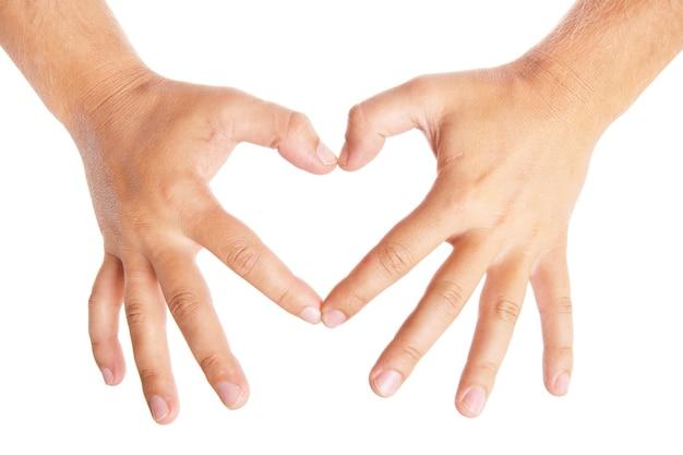 Mani che formano un cuore su sfondo bianco