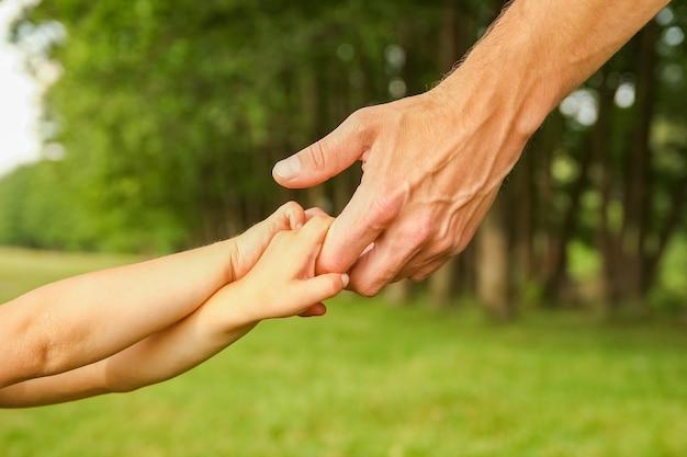 Mani di un genitore felice e di un bambino in natura