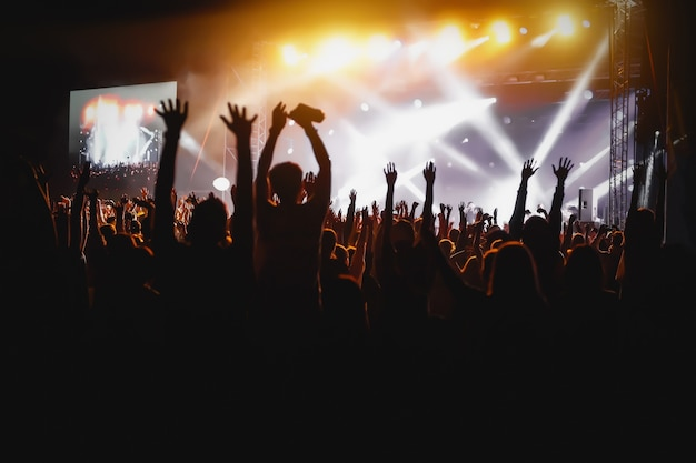 Le mani di persone felici si affollano divertendosi sul palco del festival rock dal vivo estivo