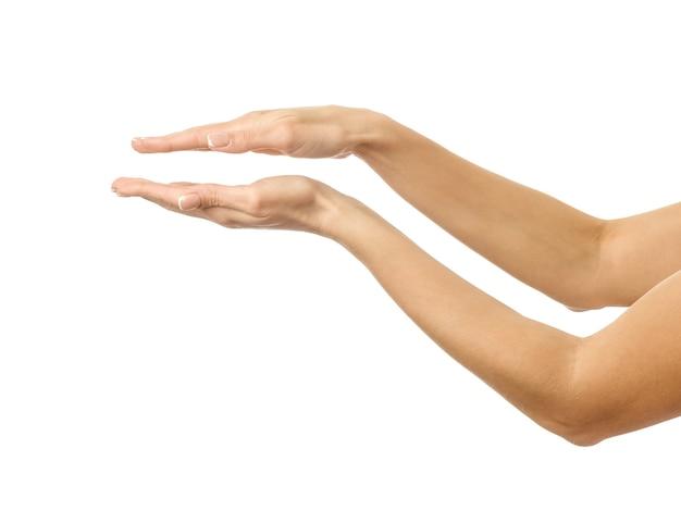 Mani che tengono o misurano isolate