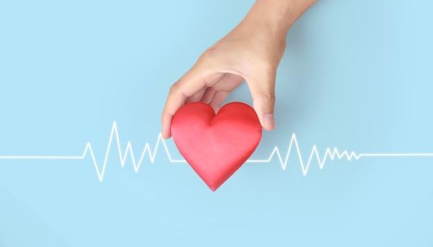 Mani che tengono un cuore rosso. concetti di donazione per la salute del cuore