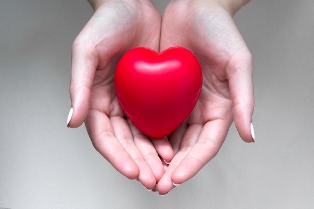Mani che tengono la vista dall'alto del cuore rosso