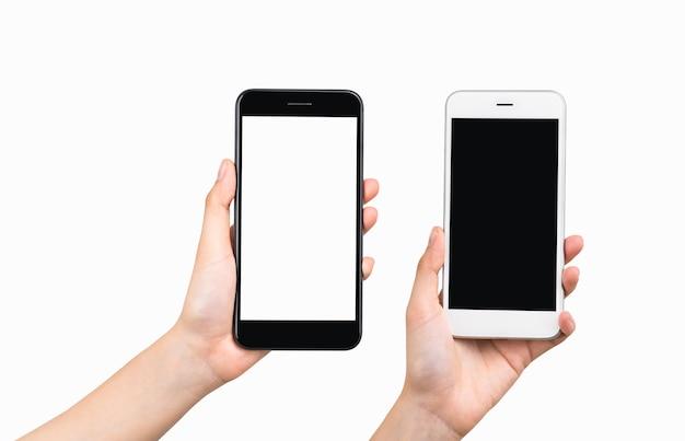 Mani che tengono smartphone isolato su priorità bassa bianca