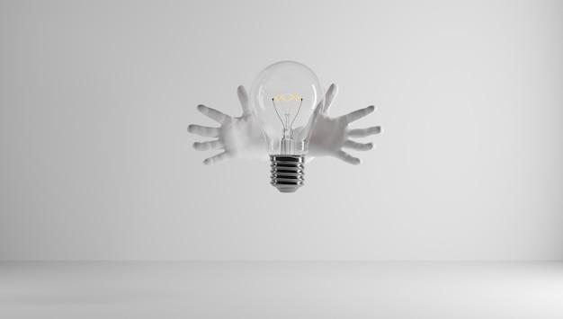 Mani che proteggono un'idea. ho un'idea e voglio proteggerla. brevettare un'idea. eureka, ho un'idea. simbolo della lampadina relativo a un'idea.