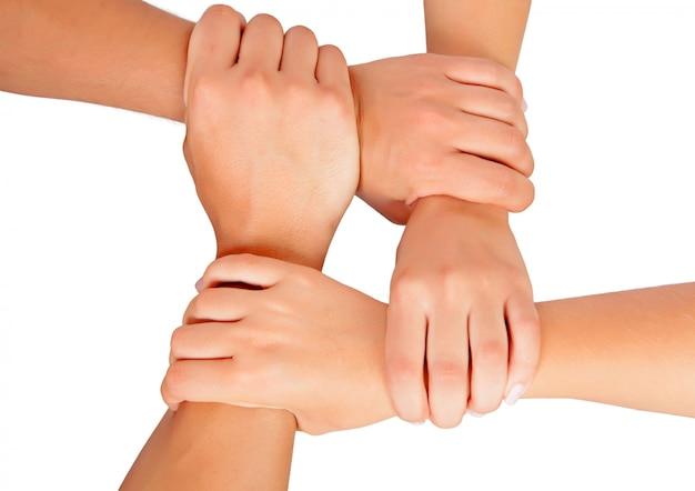Le mani suonano il lavoro di squadra isolato su fondo bianco