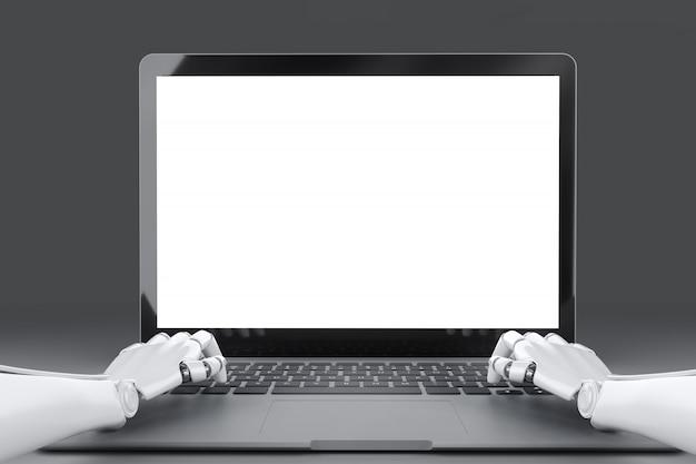 Mani del robot che scrivono sulla tastiera del computer portatile davanti ad un'illustrazione vuota dello schermo 3d