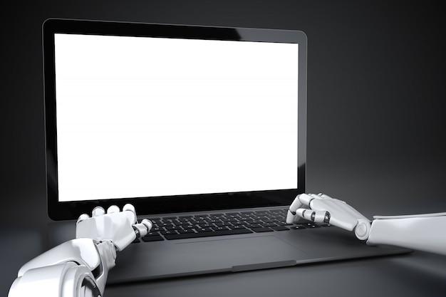 Mani del robot che scrivono sulla tastiera del computer portatile davanti ad una rappresentazione vuota dello schermo 3d
