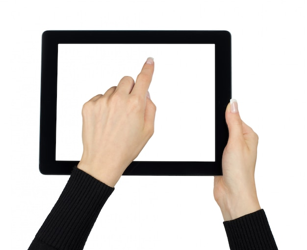 Mani con computer tablet