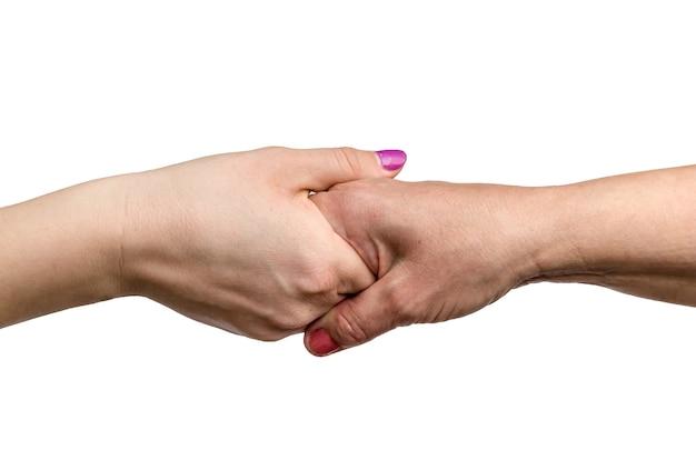 Concetti della gente di affari e della stretta di mano isolati su bianco