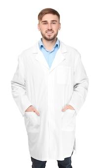 Bel dottore su sfondo bianco