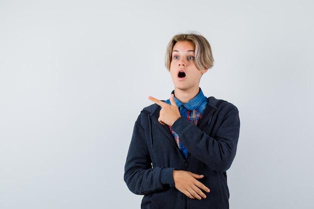 Bel ragazzo adolescente in camicia, felpa con cappuccio che punta a sinistra, distoglie lo sguardo e sembra scioccato, vista frontale.