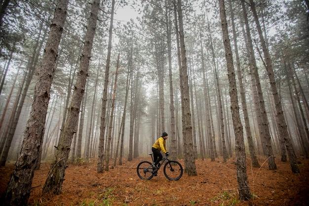 Bel giovane in bicicletta attraverso la foresta di autunno