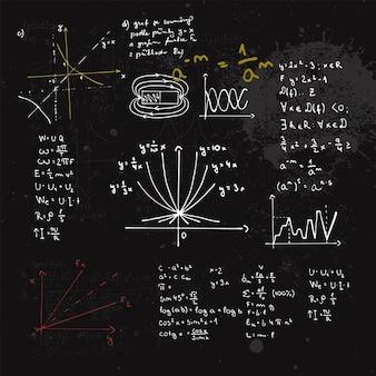 Formule matematiche scritte a mano e grafici. lavagna con calcoli.