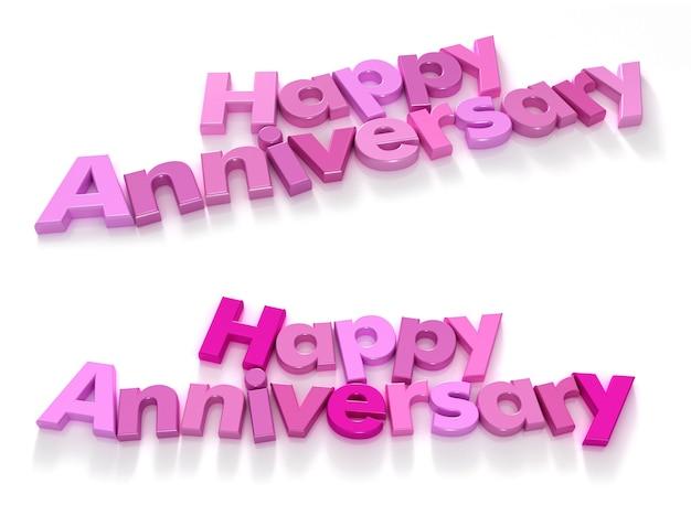 Buon anniversario con lettere magnetiche viola e rosa su sfondo neutro con due scelte di scrittura
