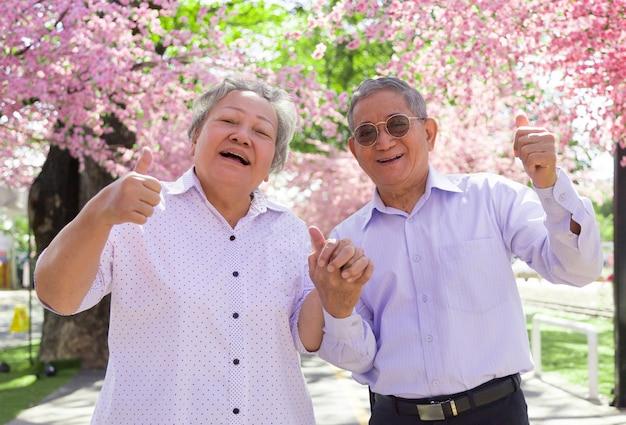 Felice nonno asiatico e nonna sorridente con forte sano nel parco fiorito