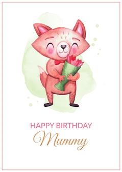 Cartolina di auguri di buon compleanno mummia di figlio con simpatico personaggio di volpe, tulipani, scritte, trama dorata. disegno di congratulazioni ad acquerello per la madre con anima per stampa, poster, banner design.