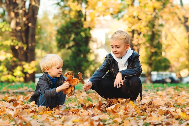 Fratelli felici che giocano insieme nella sosta di autunno. bambini svegli che gettano foglie d'autunno.