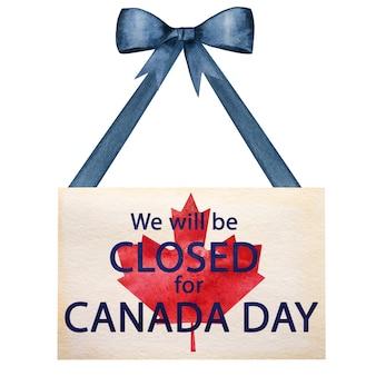 Buona giornata canadese. disegno della bandiera canadese. concetto di festa nazionale. primo piano, vista dall'alto, trama. congratulazioni per famiglia, parenti, amici e colleghi