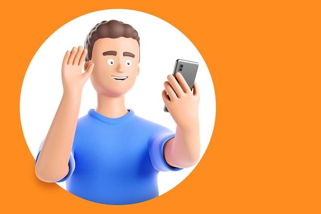 L'uomo felice del personaggio dei cartoni animati fa una videochiamata o un selfie dallo smartphone e saluta il bg giallo