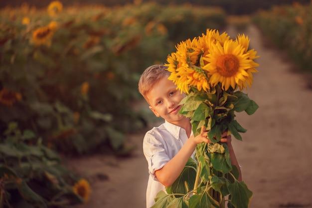 Bambino felice con il mazzo di bei girasoli nel giacimento del girasole di estate sul tramonto.