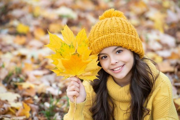 Il bambino felice in cappello giallo tiene la foglia d'acero all'aperto nel parco, autunno.