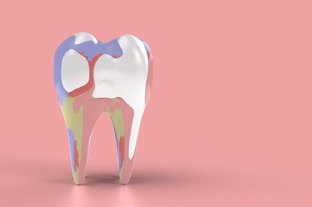 Denti colorati felici. pulire i denti con creatività. rappresenta il divertimento, pensa fuori dagli schemi. rendering 3d.