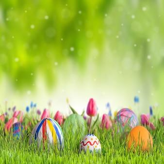 Priorità bassa felice di pasqua con uova e fiori, cartolina