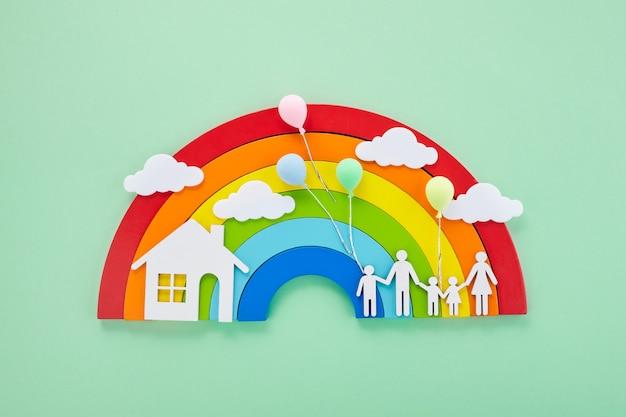 Buona giornata in famiglia. concetto di ambiente. sfondo creativo. celebrazione delle vacanze. concetto di salute. famiglia insieme.