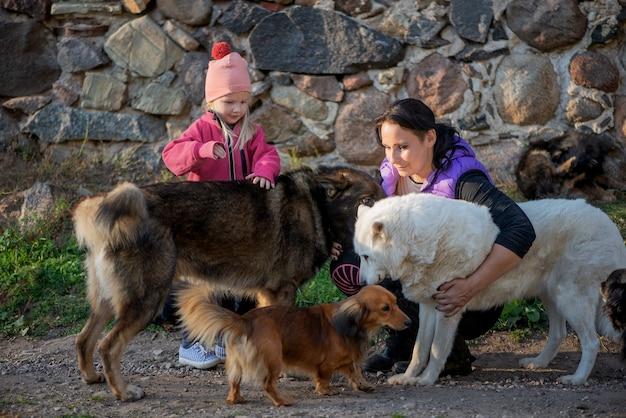 Madre di famiglia felice e figlia della ragazza che si divertono con un sacco di cani all'aperto