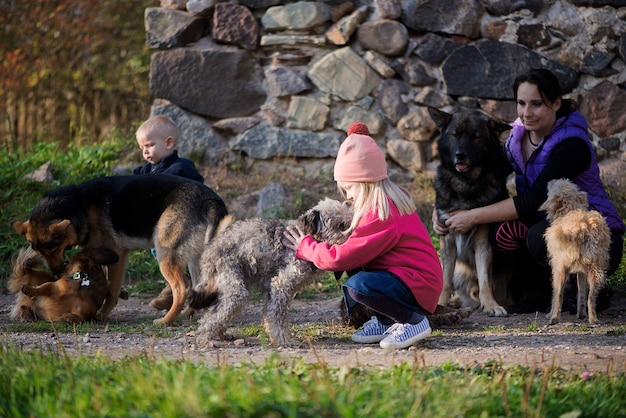 Madre di famiglia felice e due bambini ragazza e ragazzo che giocano con i cani all'aperto