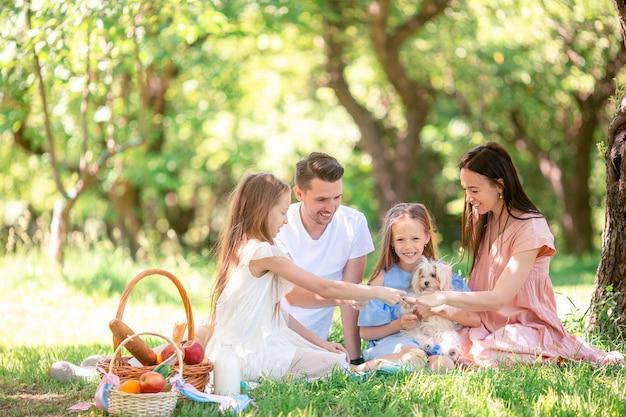 Famiglia felice su un pic-nic nel parco in una giornata di sole