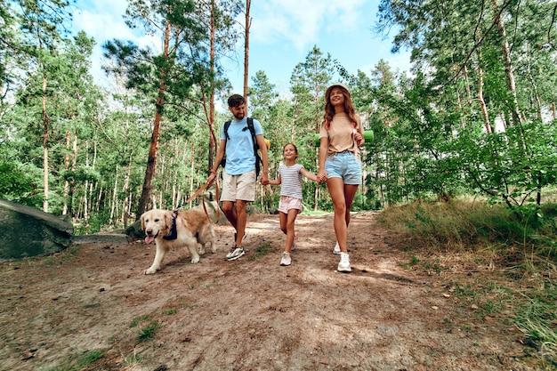 La famiglia felice con zaini e cane labrador sta camminando nella foresta. campeggio, viaggi, escursioni.