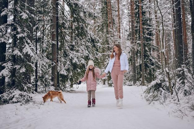Famiglia felice giovane madre e piccola ragazza carina in outwear caldo rosa camminare divertendosi con il cane rosso shiba inu nella foresta di inverno freddo bianco nevoso all'aperto