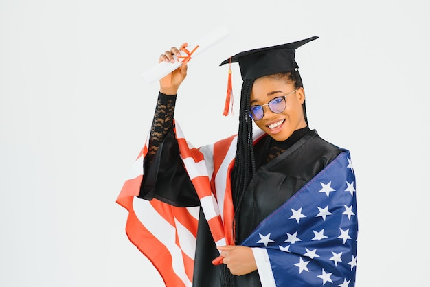 Studentessa felice con la bandiera degli stati uniti. studiare negli stati uniti concettuale