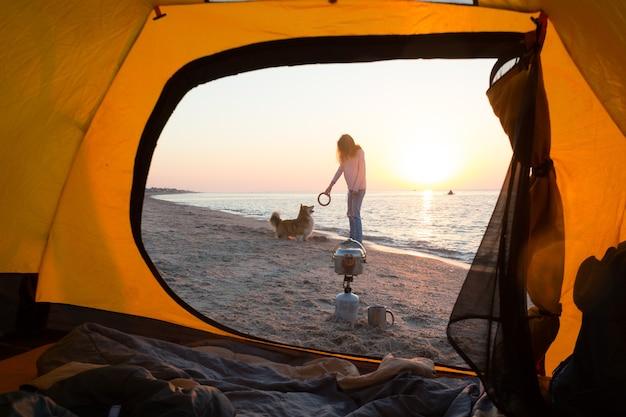 Buon fine settimana divertente al mare - ragazza che gioca con un cane sulla spiaggia. estate